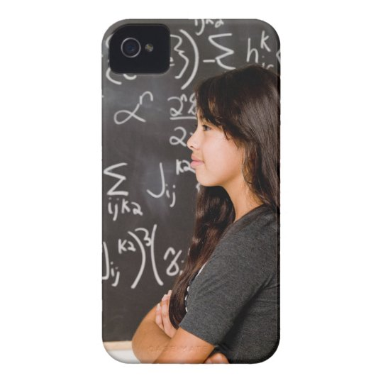 Teenage girl student at blackboard with math iPhone 4 cover