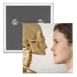 Teenage girl with skeleton button