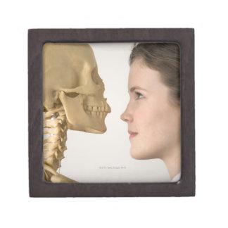 Teenage girl with skeleton jewelry box