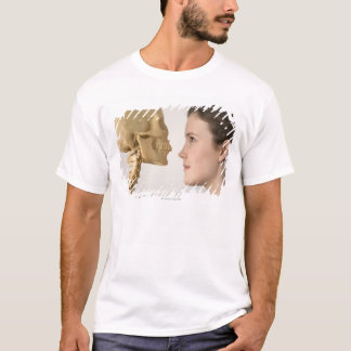 Teenage girl with skeleton T-Shirt