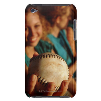 Teenage girls' softball team sitting in dugout Case-Mate iPod touch case