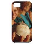 Teenage girls' softball team sitting in dugout iPhone SE/5/5s case