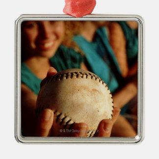 Teenage girls' softball team sitting in dugout square metal christmas ornament