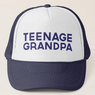 TEENAGE GRANDPA fun slogan trucker hat in blue