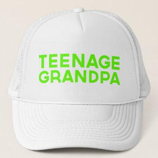 TEENAGE GRANDPA fun slogan trucker hat in green