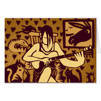 Teenage guitarist with animals greeting card