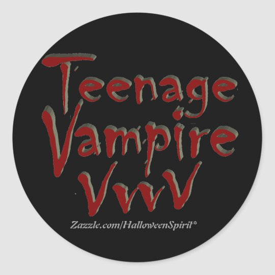 Teenage Vampire with Fangs Classic Round Sticker