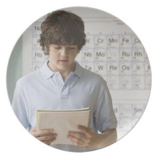 Teenaged boy giving speech in science class melamine plate