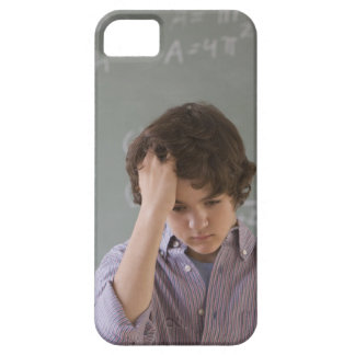 Teenaged boy in front of blackboard with math iPhone SE/5/5s case