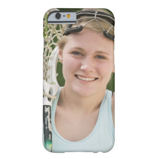 Teenaged girl holding lacrosse racket barely there iPhone 6 case