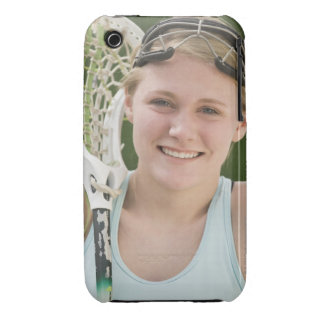 Teenaged girl holding lacrosse racket Case-Mate iPhone 3 case
