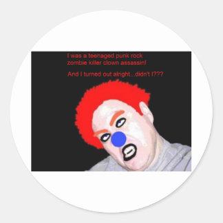 Teenaged Punk Rock Zombie Clown Round Sticker