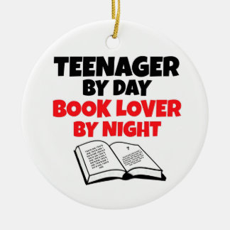 Teenager by Day Book Lover by Night Double-Sided Ceramic Round Christmas Ornament