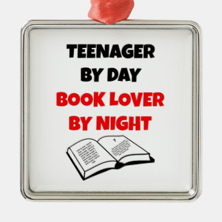 Teenager by Day Book Lover by Night Square Metal Christmas Ornament
