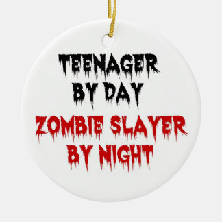 Teenager by Day Zombie Slayer by Night Double-Sided Ceramic Round Christmas Ornament