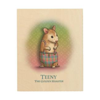 Teeny The Golden Hamster - Wooden wall art
