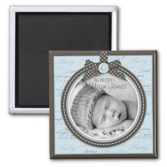 Teeny Toes Blue Photo Magnet 2