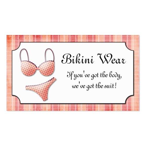 Teeny Weenie Pink Bikini Plaid  Business Card