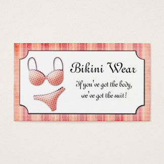 Teeny Weenie Pink Bikini Plaid  Business Card