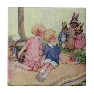 Teeny Weeny Bunny Family Small Square Tile