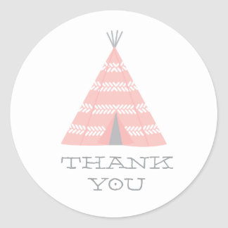 Teepee Birthday Party Thank You Sticker