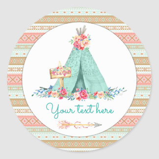 TeePee Boho Tribal Aztec Favor Gift Thank You Classic Round Sticker
