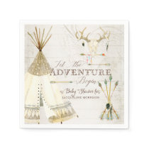 Teepee Boho Tribal Deer Antler Boy Baby Shower Napkin