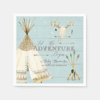 Teepee Boho Tribal Deer Arrows Boy Baby Shower Paper Napkin