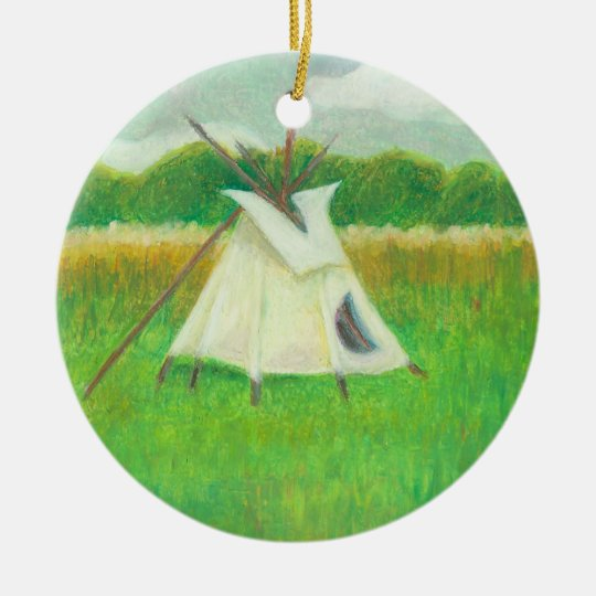 Teepee central Minnesota landscape drawing tipi Ceramic Ornament
