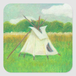 Teepee central Minnesota landscape drawing tipi Square Sticker