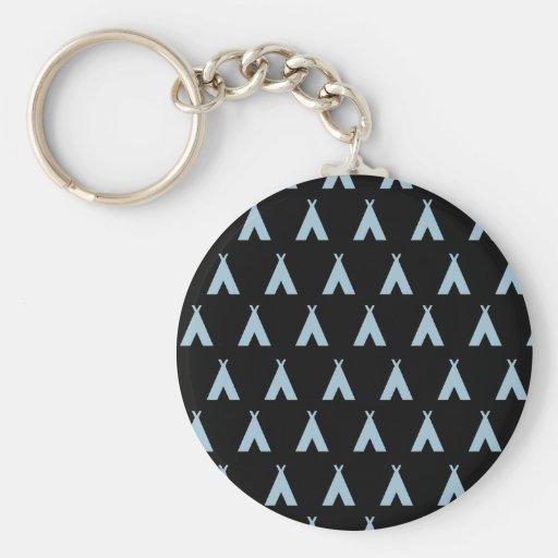 teepee light blue black keychain