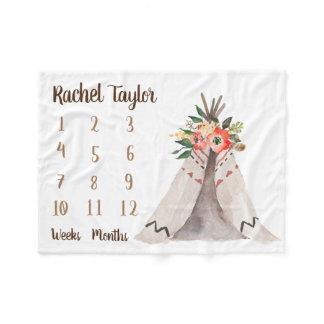 Teepee Monthly Baby Girl Milestone Blanket