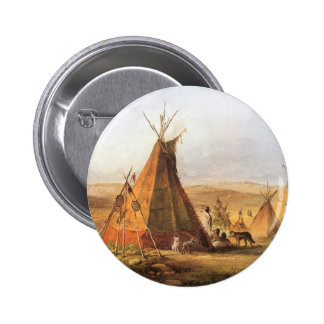 Teepees on Plain by Bodmer, Vintage American West 2 Inch Round Button
