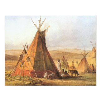 Teepees on Plain by Bodmer, Vintage American West Invite