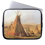 Teepees on Plain by Bodmer, Vintage American West Laptop Computer Sleeves