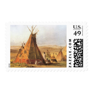 Teepees on Plain by Bodmer, Vintage American West Postage Stamps