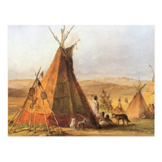 Teepees on Plain by Bodmer, Vintage American West Postcards