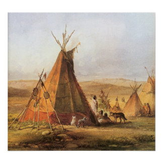 Teepees on Plain by Bodmer, Vintage American West Poster