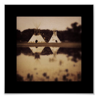 Teepees on the Lake Poster