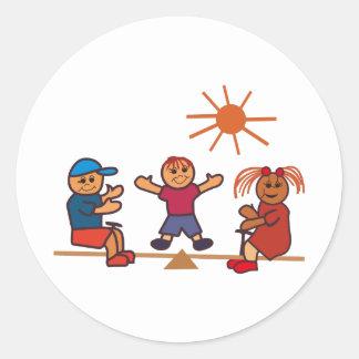 Teeter-Totter Kids Classic Round Sticker