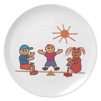 Teeter-Totter Kids Melamine Plate