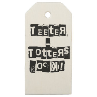 Teeter-Totters Rock Wooden Gift Tags