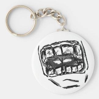 teeth basic round button keychain