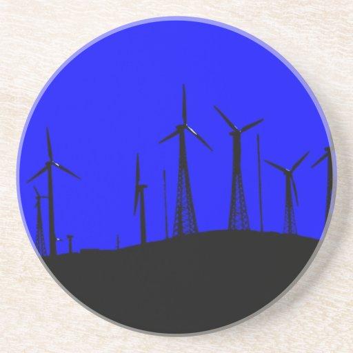 Tehacapi Wind Farm Silhouette (1) Beverage Coaster