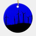 Tehacapi Wind Farm Silhouette (1) Christmas Tree Ornaments