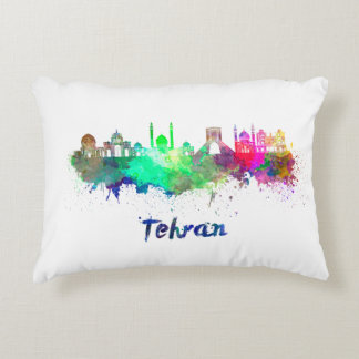 Tehran skyline in watercolor accent pillow