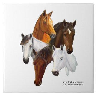 Teja, 5 cabezas de caballo azulejo cuadrado grande