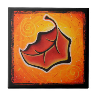 Teja anaranjada alegre de la hoja del otoño