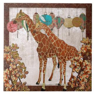 Teja anaranjada del flor de las jirafas
