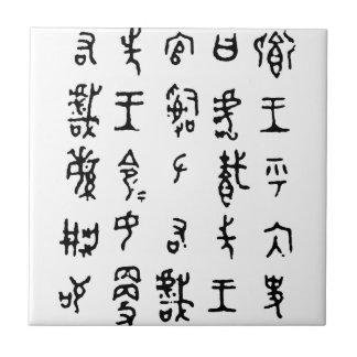 Teja antigua de los caracteres chinos del kanji